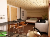 Project of Wooden House 45 3d interior 2